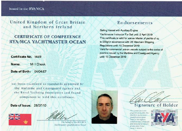 Ian Cheek Yachtmaster Ocean and Instructor Qualification